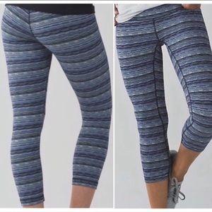•Lululemon• blue Cyber Strip crop leggings